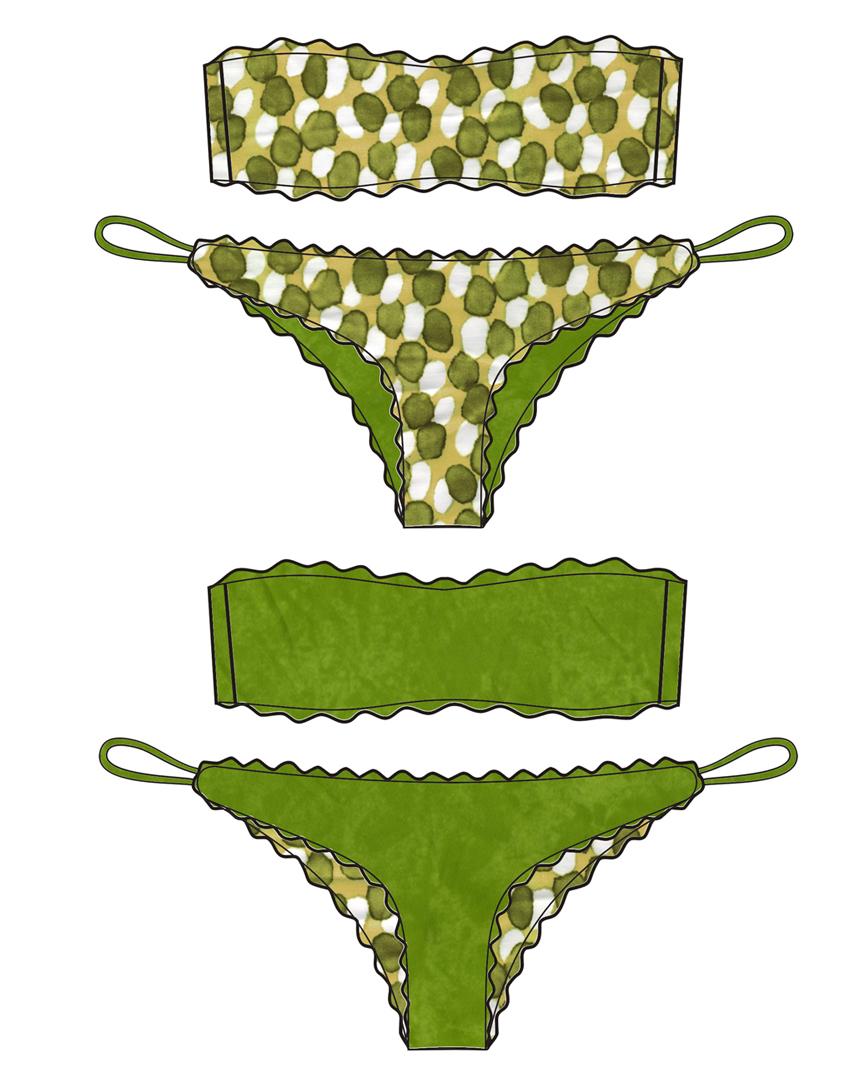 Bikini Bubble Green - Costume da bagno fatto a mano Les Caprices